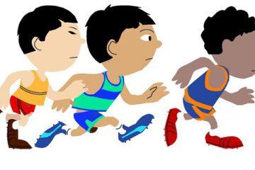 copii alergand desen