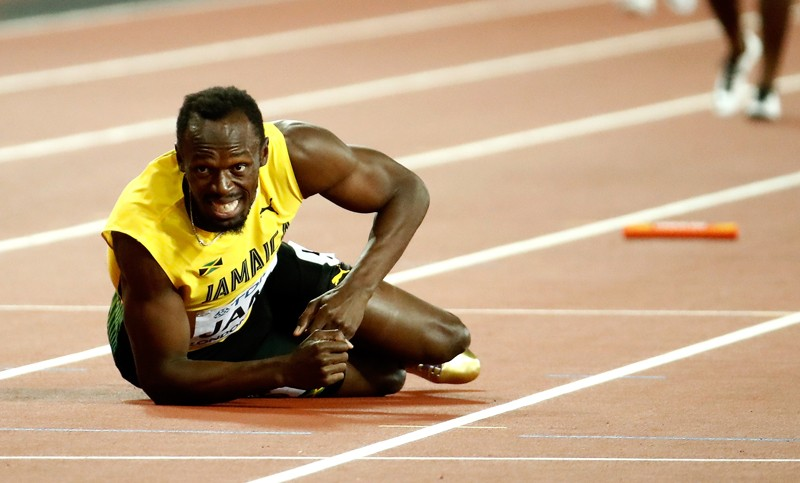Usain Bolt, la pamant, stafeta CM 2017, foto: Getty
